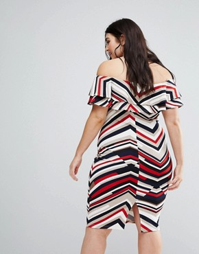 photo Stripe Bardot Dress by AX Paris Plus, color Multi - Image 2