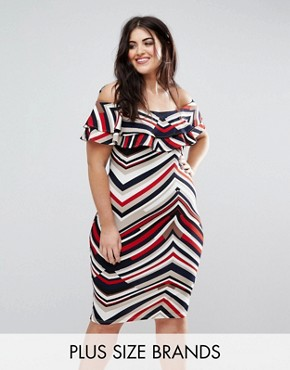 photo Stripe Bardot Dress by AX Paris Plus, color Multi - Image 1
