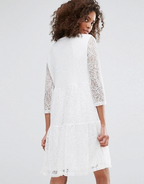 photo Lace Skater Dress by Vila, color White - Image 2