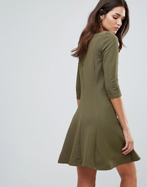 photo 3/4 Sleeve Skater Dress by Vila, color Ivory Green - Image 2