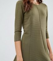 photo 3/4 Sleeve Skater Dress by Vila, color Ivory Green - Image 3