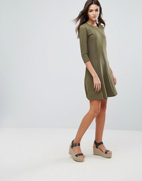photo 3/4 Sleeve Skater Dress by Vila, color Ivory Green - Image 4