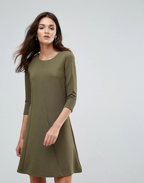photo 3/4 Sleeve Skater Dress by Vila, color Ivory Green - Image 1