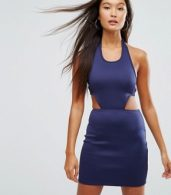 photo Cut Out Bodycon Dress by Glamorous, color Navy - Image 2