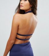 photo Cut Out Bodycon Dress by Glamorous, color Navy - Image 3