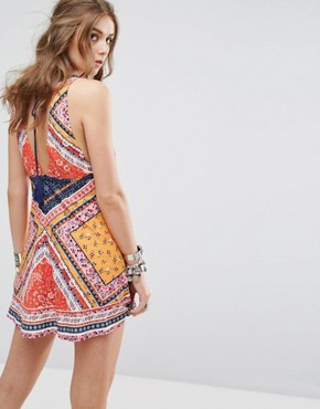 photo Festival Sleeveless Dress with Tassel Tie in Tile Print by Kiss The Sky, color Multi - Image 2