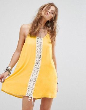 photo Festival Cami Dress with Lace Panel by Kiss The Sky, color Yellow - Image 1