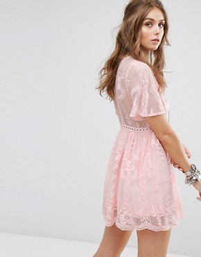 photo Lace Dress with Ladder Detail by Kiss The Sky, color Pink - Image 2