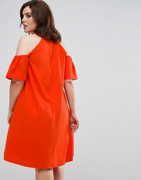 photo cold shoulder swing dress with key hole by Pink Clove, color Orange - Image 2