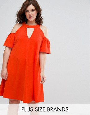 photo cold shoulder swing dress with key hole by Pink Clove, color Orange - Image 1