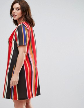 photo Printed T-shirt Dress by Pink Clove, color Multi Stripe - Image 2