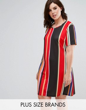 photo Printed T-shirt Dress by Pink Clove, color Multi Stripe - Image 1