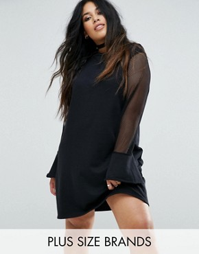 photo Jumper Dress with Fishnet Sleeves by Pink Clove, color Black - Image 1