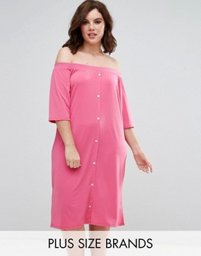 photo Bardot Shirt Dress with Button Front by Pink Clove, color Pink - Image 1