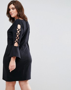 photo Frilled Sleeve Shift Dress with Criss Cross Detail by Pink Clove, color Black - Image 2