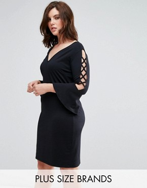 photo Frilled Sleeve Shift Dress with Criss Cross Detail by Pink Clove, color Black - Image 1