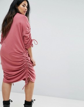 photo Gathered Jumper Sweat Dress by Pink Clove, color Red - Image 2