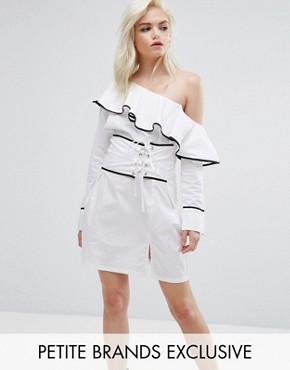 photo One Shoulder Corset Dress by Missguided Petite, color White - Image 1