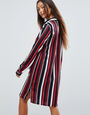photo Stripe Shirt Dress by Vila, color Multi Stripe - Image 2