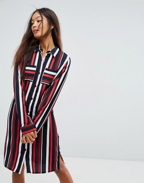 photo Stripe Shirt Dress by Vila, color Multi Stripe - Image 1