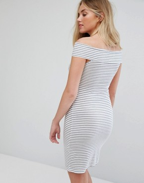photo Stripe Bardot Sleeve Dress by Vila, color Snow White - Image 2