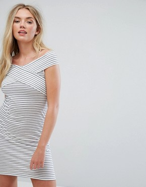 photo Stripe Bardot Sleeve Dress by Vila, color Snow White - Image 1