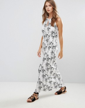 photo Printed Maxi Dress by Vila, color White Based Leaf Print - Image 1