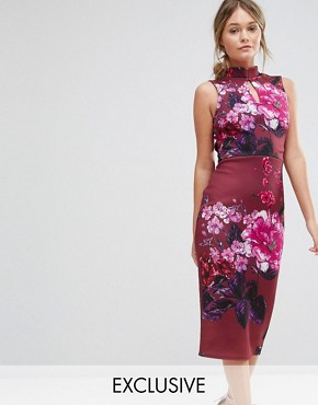 photo High Neck Pencil Dress with Mandarin Collar and Cap Sleeve by True Violet, color Wine Multi - Image 1