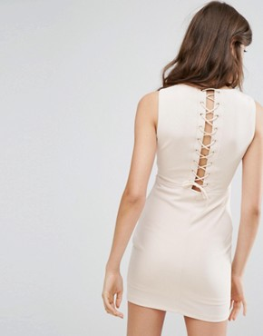 photo Dress with Lace Up Back by Oeuvre, color Apricot - Image 1