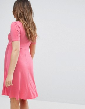 photo Skater Dress by New Look Maternity, color Dark Coral - Image 2