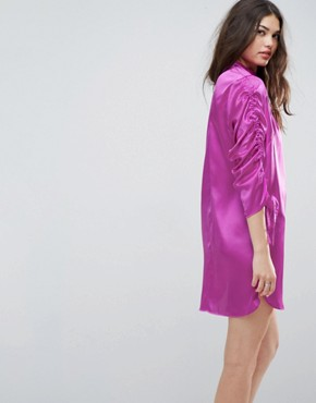 photo Mini Shift Dress with Tie Detail Sleeves by ASOS, color Purple - Image 2