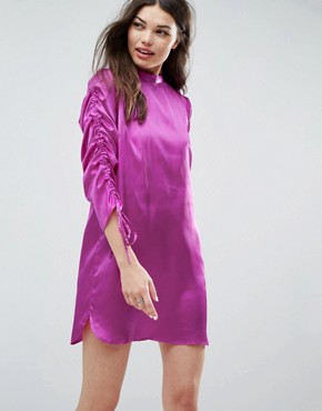 photo Mini Shift Dress with Tie Detail Sleeves by ASOS, color Purple - Image 1