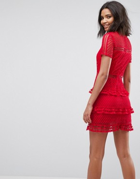 photo Layered Lace Dress by Liquorish, color Red - Image 2