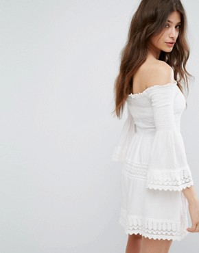 photo Shirring and Crochet Dress by Bershka, color White - Image 2
