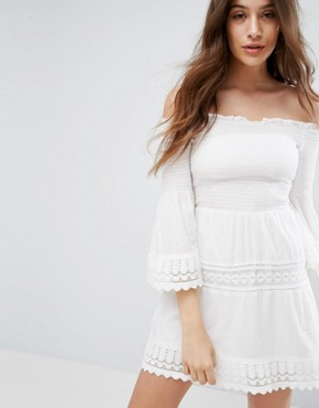 photo Shirring and Crochet Dress by Bershka, color White - Image 1