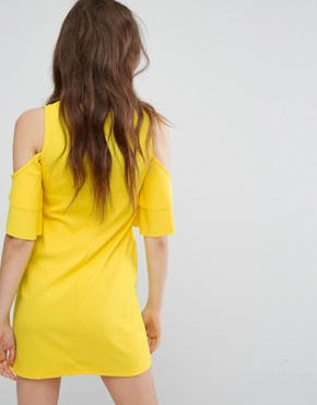 photo Cold Shoulder Dress by Bershka, color Yellow - Image 2