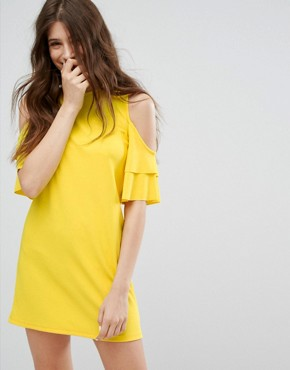 photo Cold Shoulder Dress by Bershka, color Yellow - Image 1