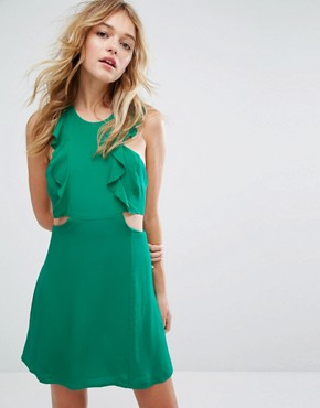 photo Frill and Cut Out Side Tea Dress by Bershka, color Green - Image 1