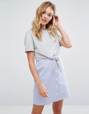 photo Jersey Top and Stripe Dress by Bershka, color Multi - Image 1
