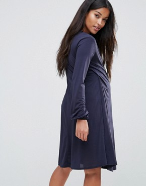 photo Wrap Front Dress with Bell Sleeve by Bluebelle Nursing, color Navy - Image 2