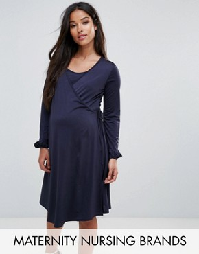 photo Wrap Front Dress with Bell Sleeve by Bluebelle Nursing, color Navy - Image 1
