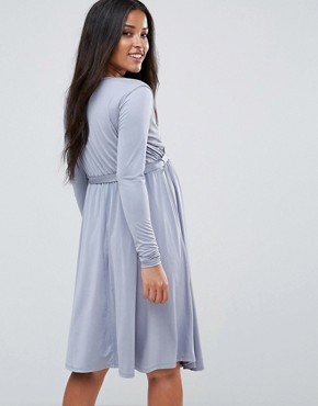 photo Wrap Front Swing Dress with Tie Belt by Bluebelle Maternity, color Dove Grey - Image 2