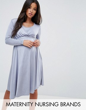 photo Wrap Front Swing Dress with Tie Belt by Bluebelle Maternity, color Dove Grey - Image 1
