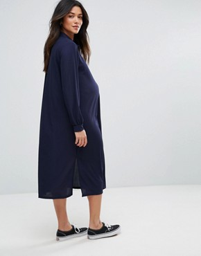 photo Midi Shirt Dress by Bluebelle Maternity, color Navy - Image 2