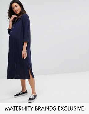 photo Midi Shirt Dress by Bluebelle Maternity, color Navy - Image 1
