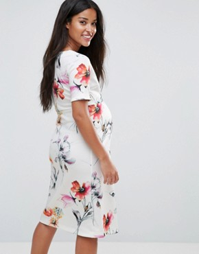 photo Wrap Frilled Hem Dress in Floral by Bluebelle Maternity, color Multi Floral - Image 2