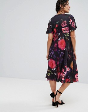 photo Wrap Front Kimono Sleeve Midi Dress by Bluebelle Maternity, color Dark Floral - Image 2