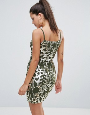 photo Knot Front Cami Mini Dress with Embellished Pattern by Starlet, color Green/Gold - Image 2