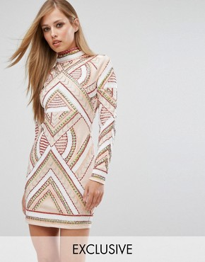 photo Long Sleeve Mini Dress in Allover Embellishment by Starlet, color Nude - Image 1