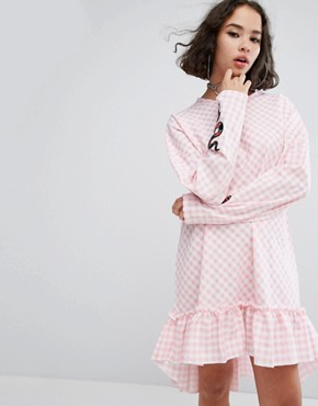 photo Cottonmouth Frill Hem Dress by The Ragged Priest, color Pink - Image 1